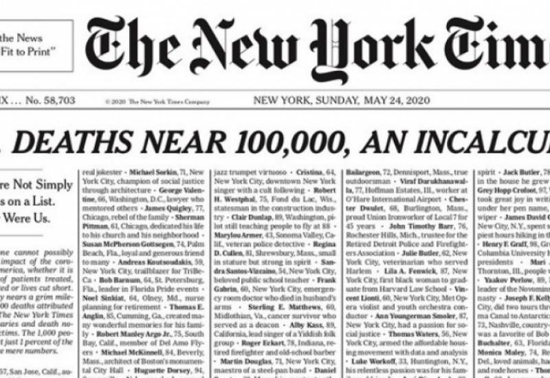 Οι New York Times αφιερώνουν την πρώτη σελίδα στους νεκρούς της πανδημίας